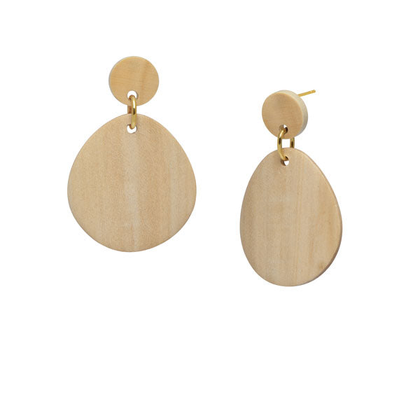 Gold and white wood curved oval earring by Branch Jewellery