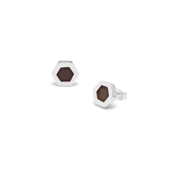 Rosewood and Sterling Silver Hexagon earrings