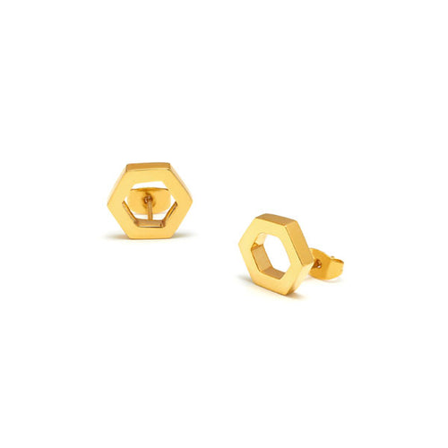 Open hexagon gold earrings