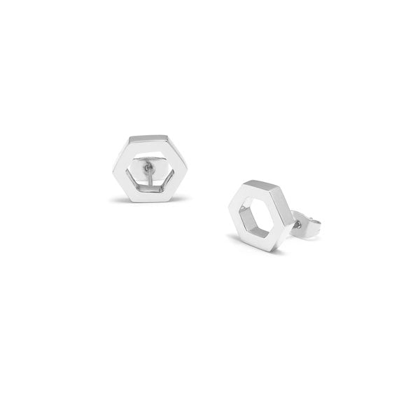 Silver open Hexagon Earrings