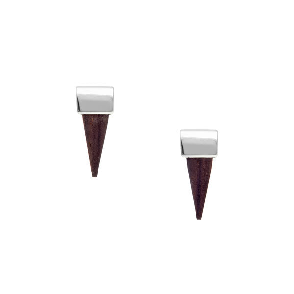 small silver and rosewood spike earrings