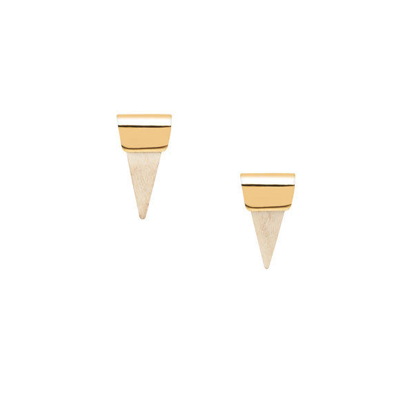 small white wood and gold stud earrings
