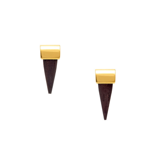 small wooden and gold spike earrings