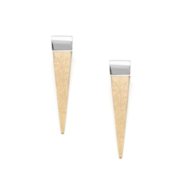 Long White wood spike earrings silver