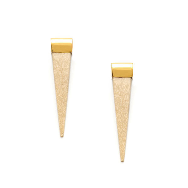 Long White wood and gold spike earrings