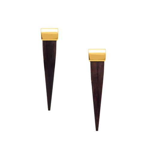 Long Rosewood and Gold Spike Earrings