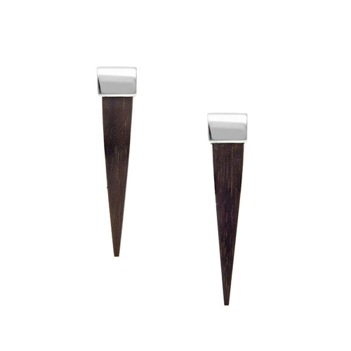 Long Silver and Carved Rosewood Spike Earrings