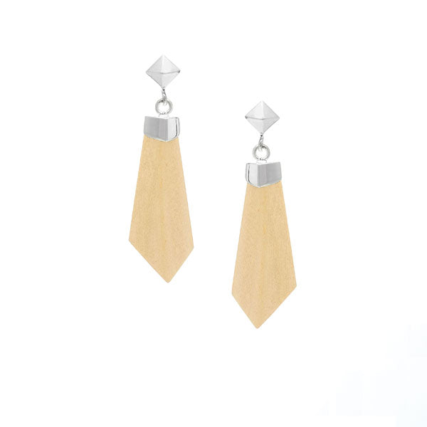 Carved white wood and silver drop earrings