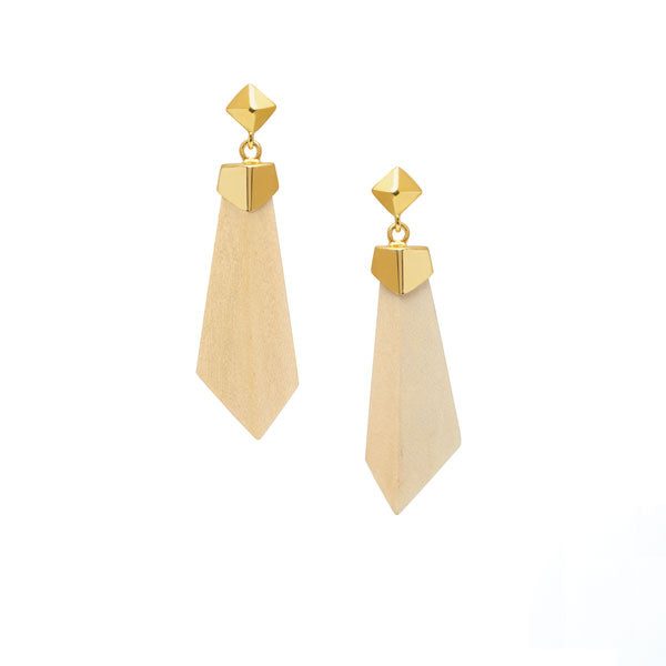 White wood and gold drop earrings