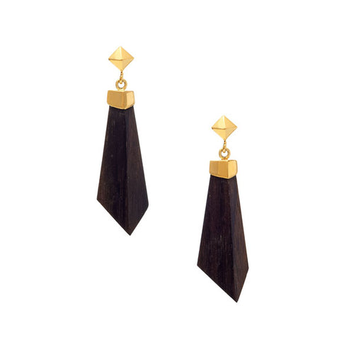 Gold Rosewood stud and drop earrings