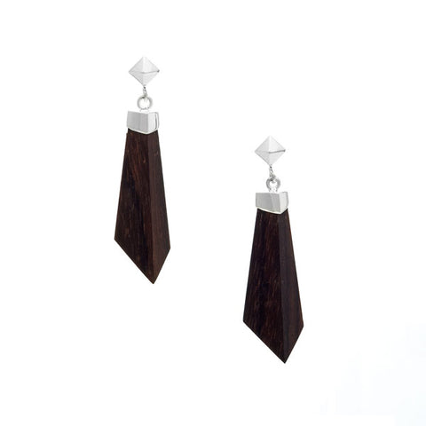 Long White wood Spike Earring  - Silver
