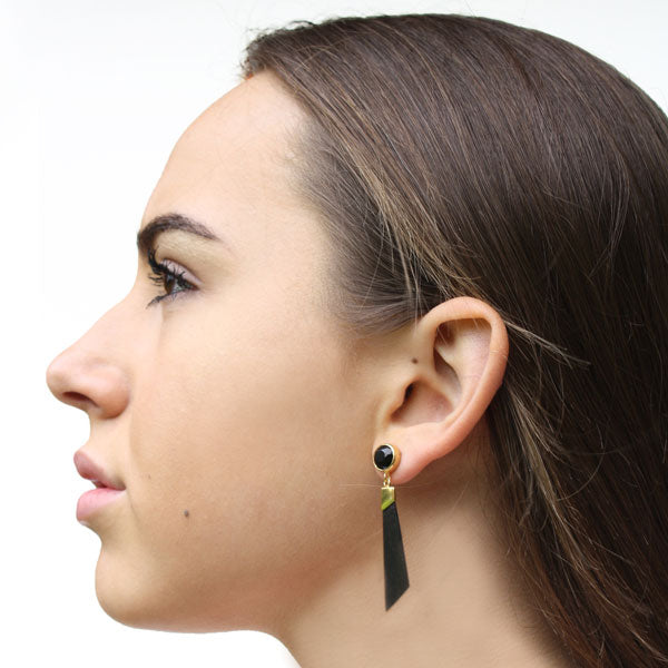 Gold, Black Onyx and Rosewood Earrings