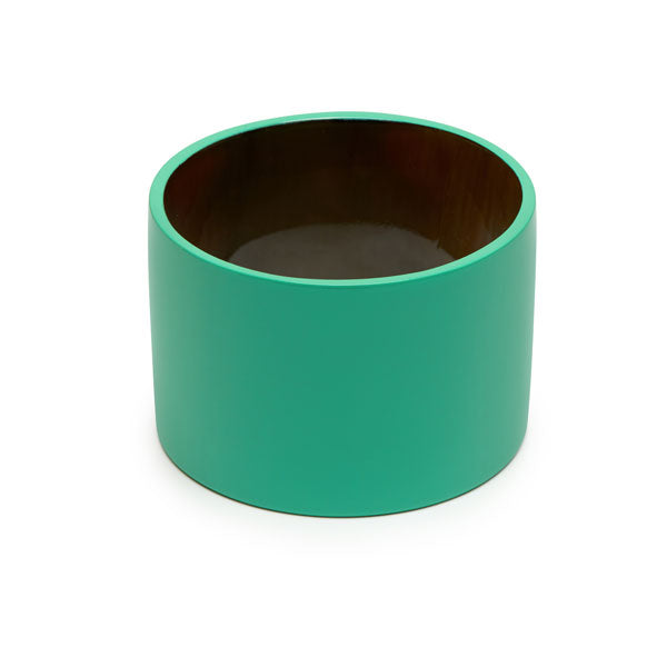 Branch jewellery - Wide green buffalo horn bangle