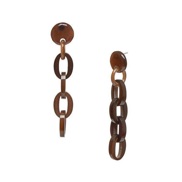 Branch Jewellery - Brown natural chain link buffalo horn earrings