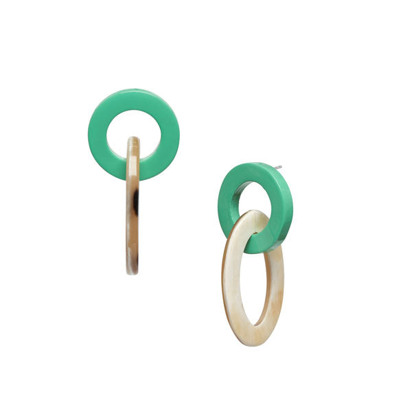 Branch Jewellery - Green and white small oval buffalo horn link earring