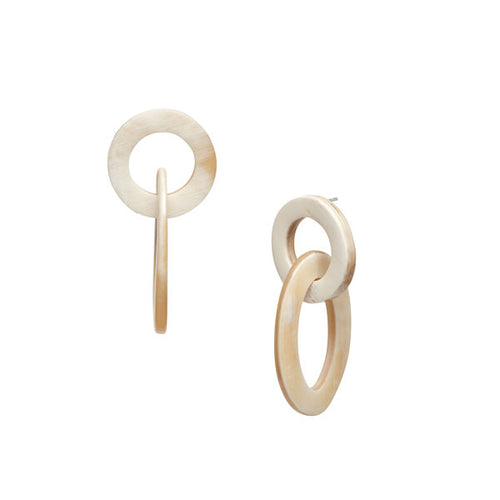 Branch Jewellery - White natural small oval buffalo horn link earring