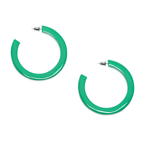 Oval link buffalo horn earrings - Green
