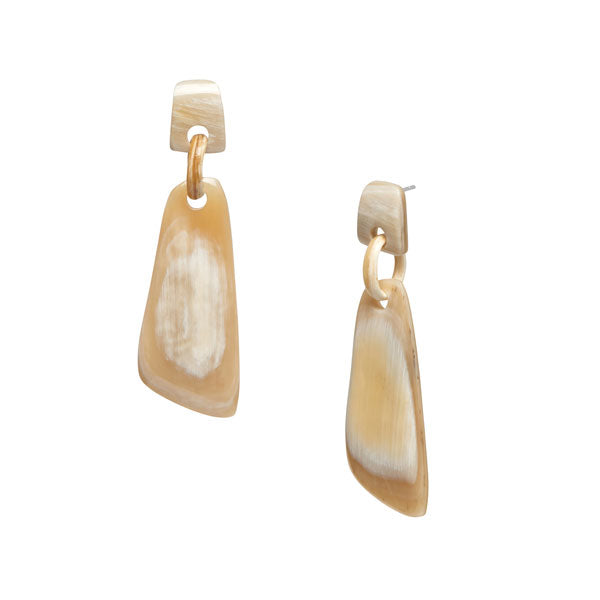 Branch Jewellery - White natural Buffalo horn shaped drop earring