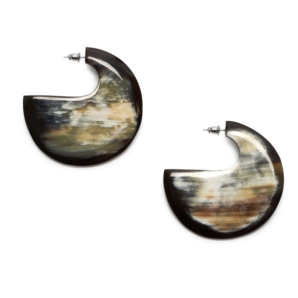 Branch Jewellery - Flat Black Natural Buffalo horn hoop earring