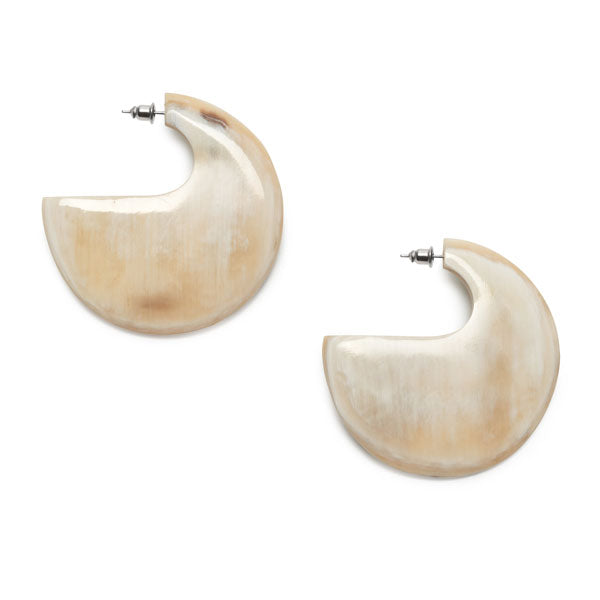 Branch Jewellery - Flat White Natural Buffalo horn hoop earring