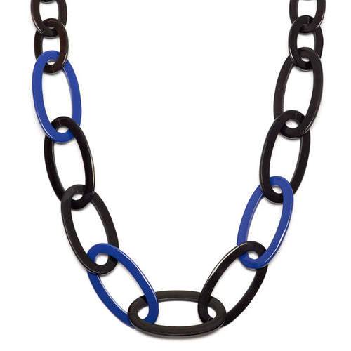 Branch jewellery -Blue and black oval link buffalo horn necklace