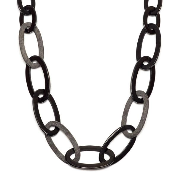 Branch jewellery -Grey and black oval link buffalo horn necklace