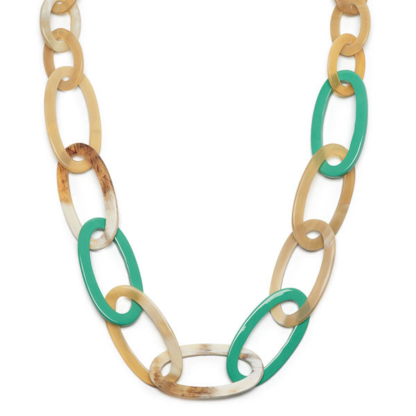 Branch jewellery -Green and white oval link buffalo horn necklace