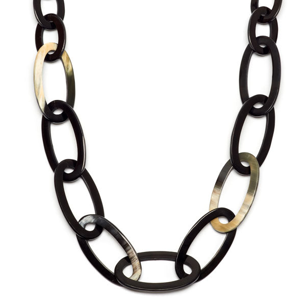Branch jewellery - oval link natural buffalo horn necklace