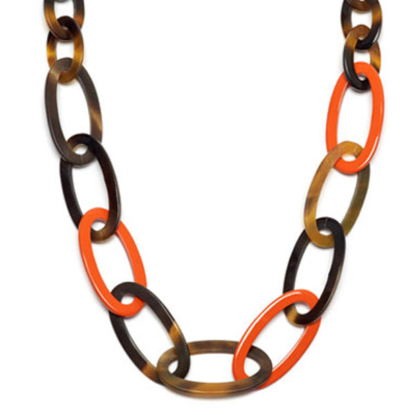 Branch jewellery - Orange and brown oval link buffalo horn necklace