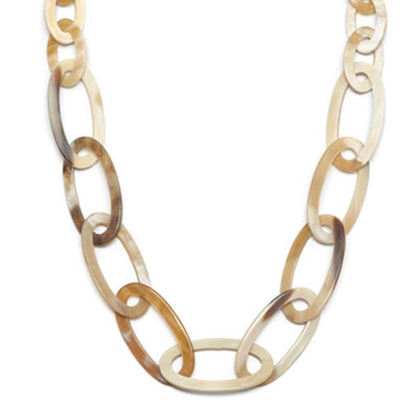Branch jewellery - oval link white natural buffalo horn necklace
