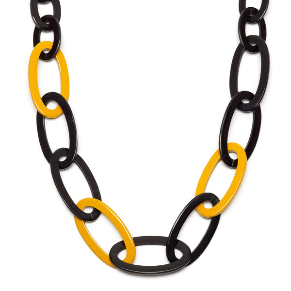 Branch jewellery -yellow and black oval link buffalo horn necklace