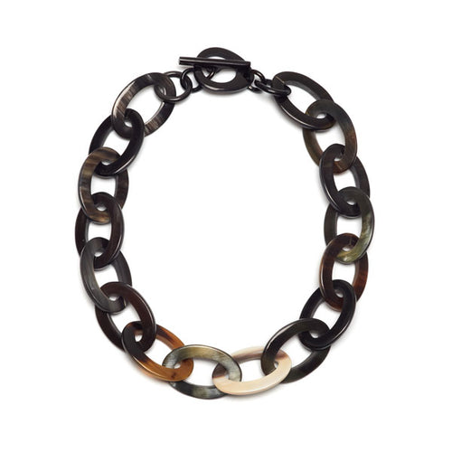 Branch jewellery - oval link black natural buffalo horn necklace