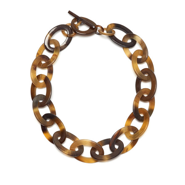 Branch jewellery - oval link brown natural buffalo horn necklace