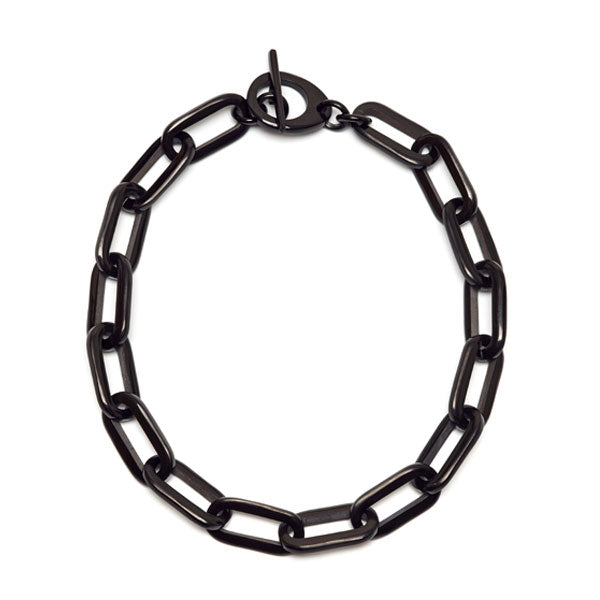 Branch jewellery - rectangle link black natural buffalo horn necklace