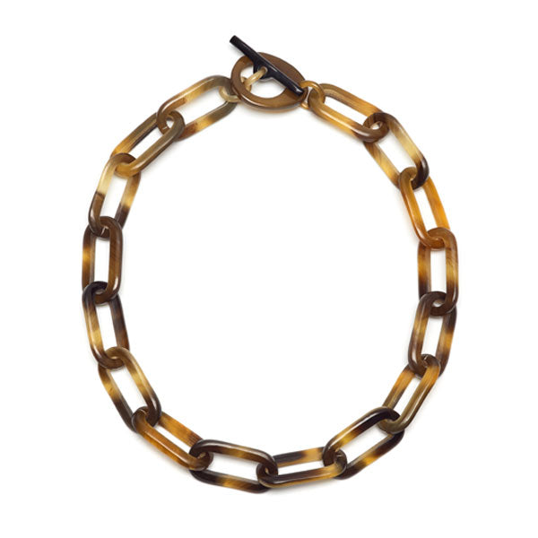 Branch jewellery - short rectangle link brown natural buffalo horn necklace