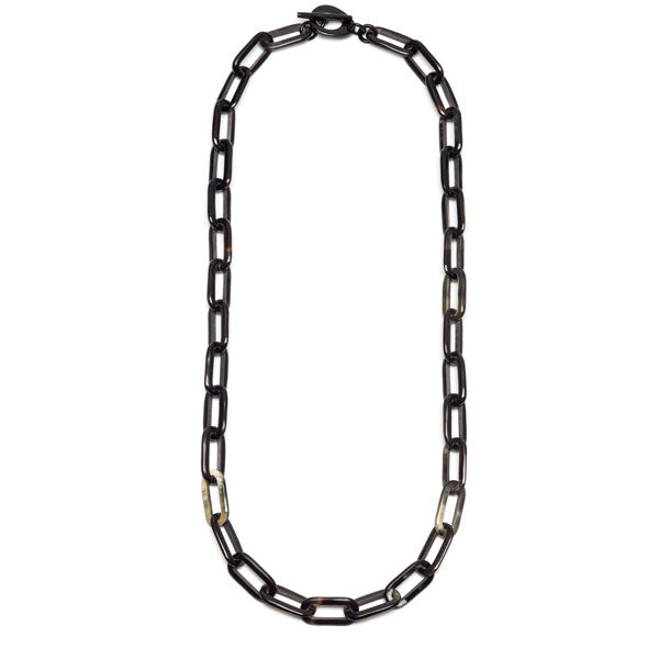 Branch jewellery - long rectangle link black natural buffalo horn necklace