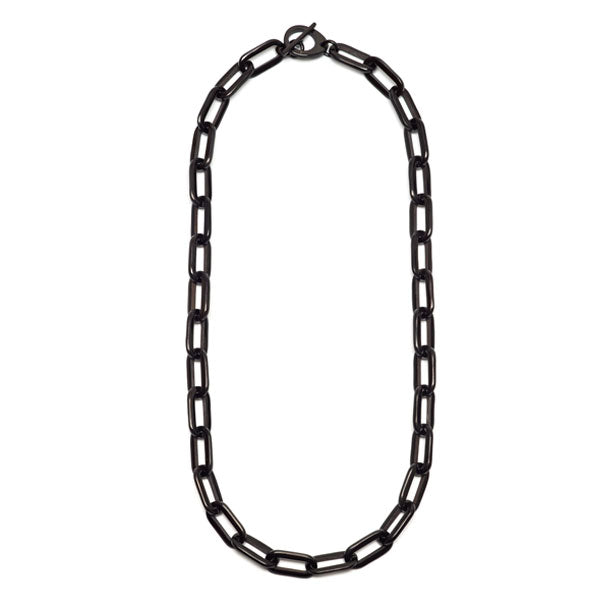 Branch jewellery - long rectangle link black buffalo horn necklace