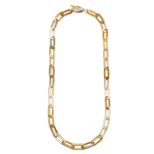 Branch jewellery - long rectangle link white natural buffalo horn necklace