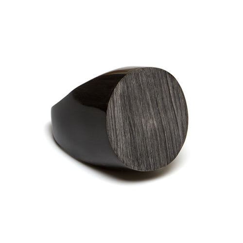 Branch jewellery - Grey and black round buffalo horn ring