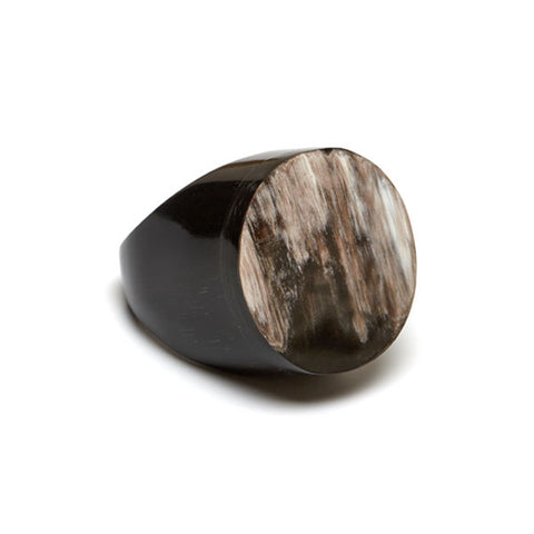 Round buffalo horn ring - Grey
