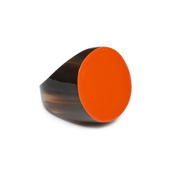branch jewellery - Natural brown and lacquered orange Round buffalo horn ring