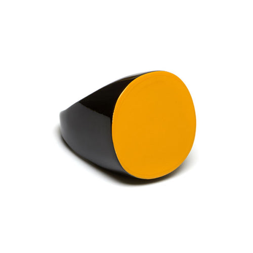 Branch jewellery - Yellow and black round buffalo horn ring