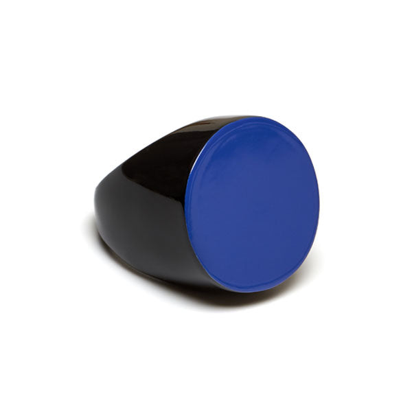 Branch jewellery -Blue and black round buffalo horn ring