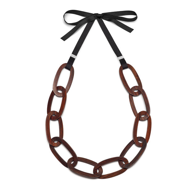 Branch Jewellery - Flat brown wood oval link necklace set on black ribbon
