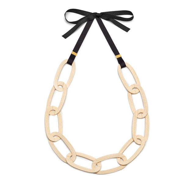 Branch Jewellery - Flat white wood oval link necklace set on black ribbon