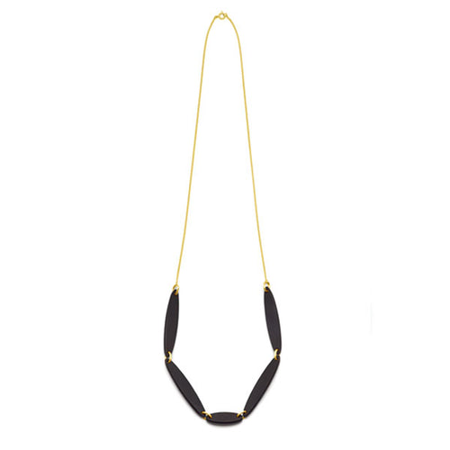Black wood Foli Necklace - Gold