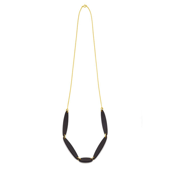 Branch Jewellery - necklace with black oval wood set on gold plated chain