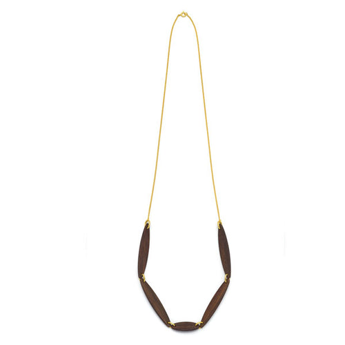 Branch Jewellery - necklace with brown oval wood set on gold plated chain