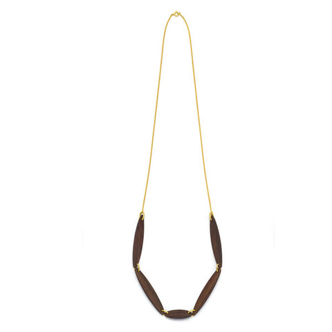 White wood Foli Necklace - Gold