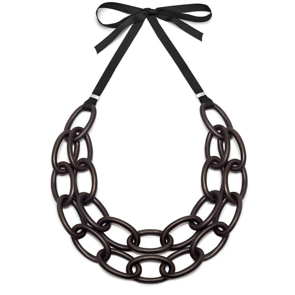 Branch Jewellery - Black wood double strand oval link necklace set on ribbon